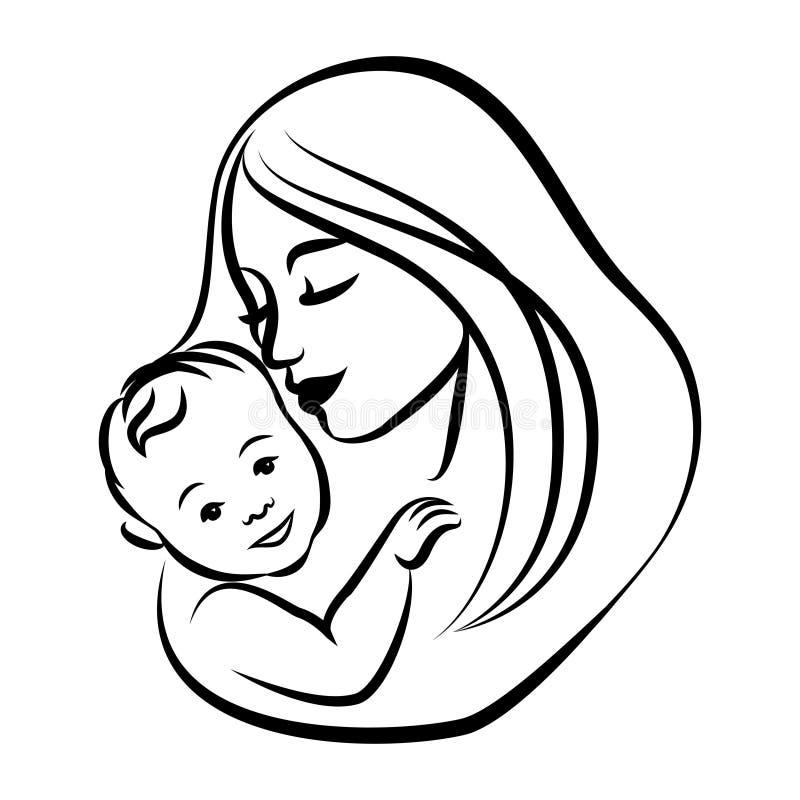 Mãe com seu bebê Símbolo estilizado do esboço Maternidade, amor ilustração stock