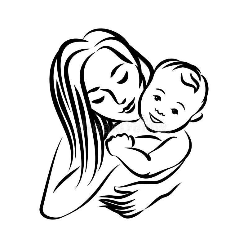 Mãe com seu bebê Símbolo estilizado do esboço Maternidade, amor ilustração do vetor