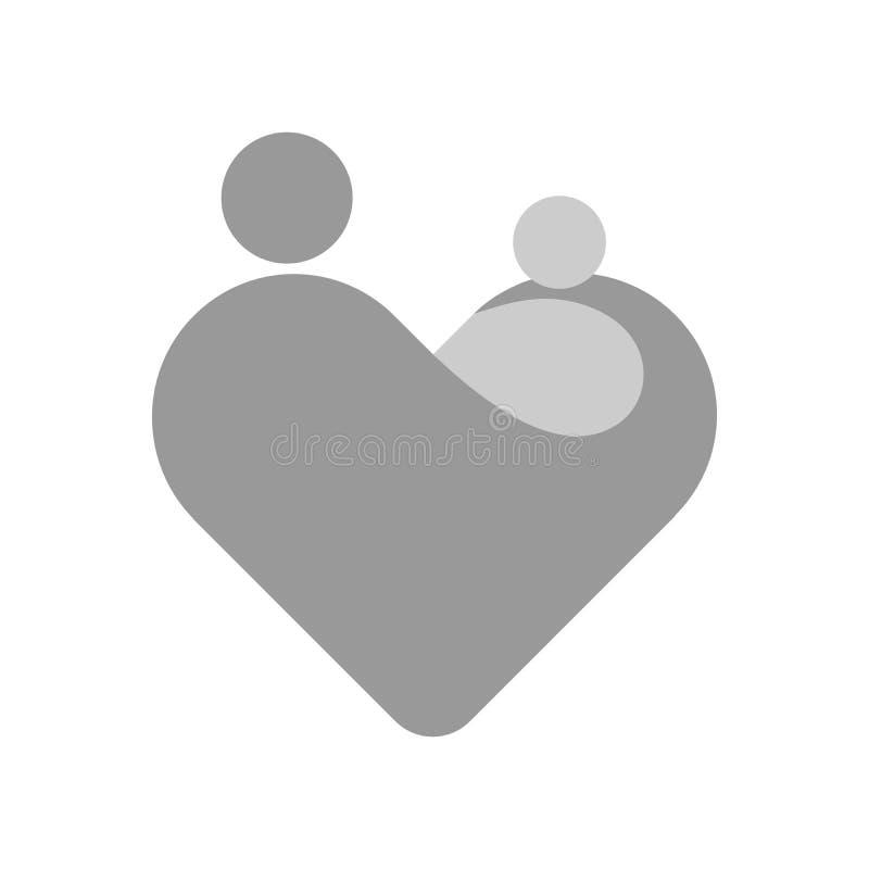 Mãe com sua criança em suas mãos Símbolo simplificado em uma forma do coração Tema da maternidade ou do dia de mães Vetor cinzent ilustração do vetor