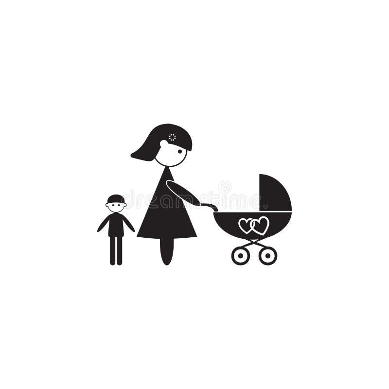 mãe com um ícone do carrinho de criança Ilustração do ícone dos valores familiares Projeto gráfico da qualidade superior Sinais e ilustração royalty free