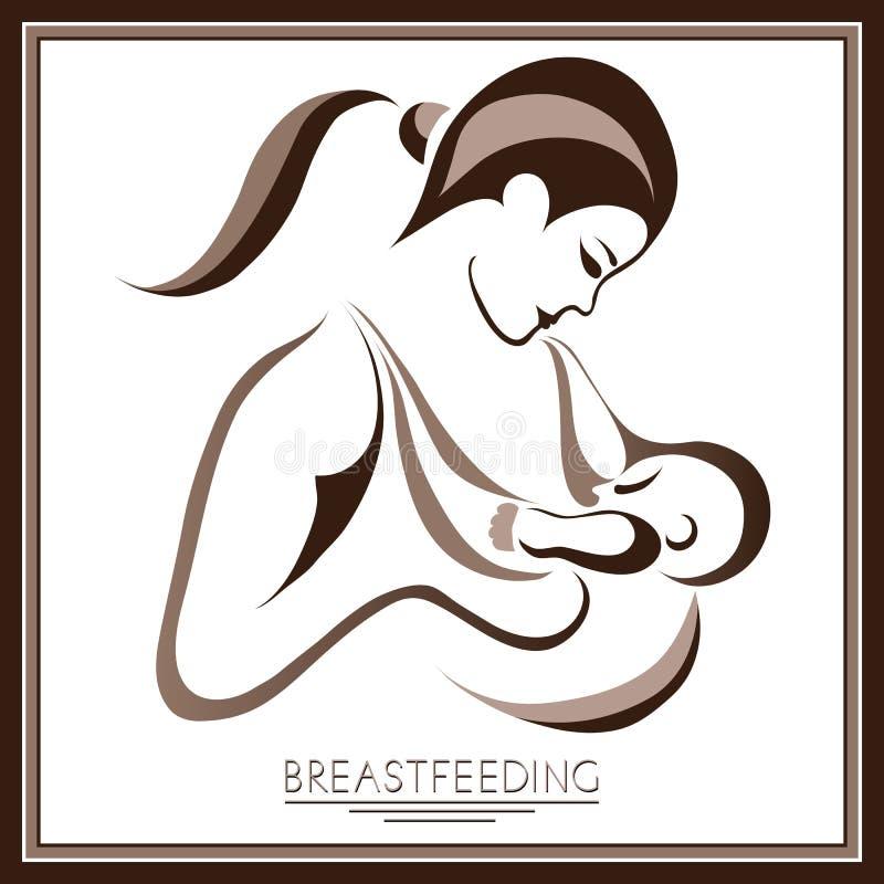 Mãe com um bebê (amamentação) 3 ilustração royalty free