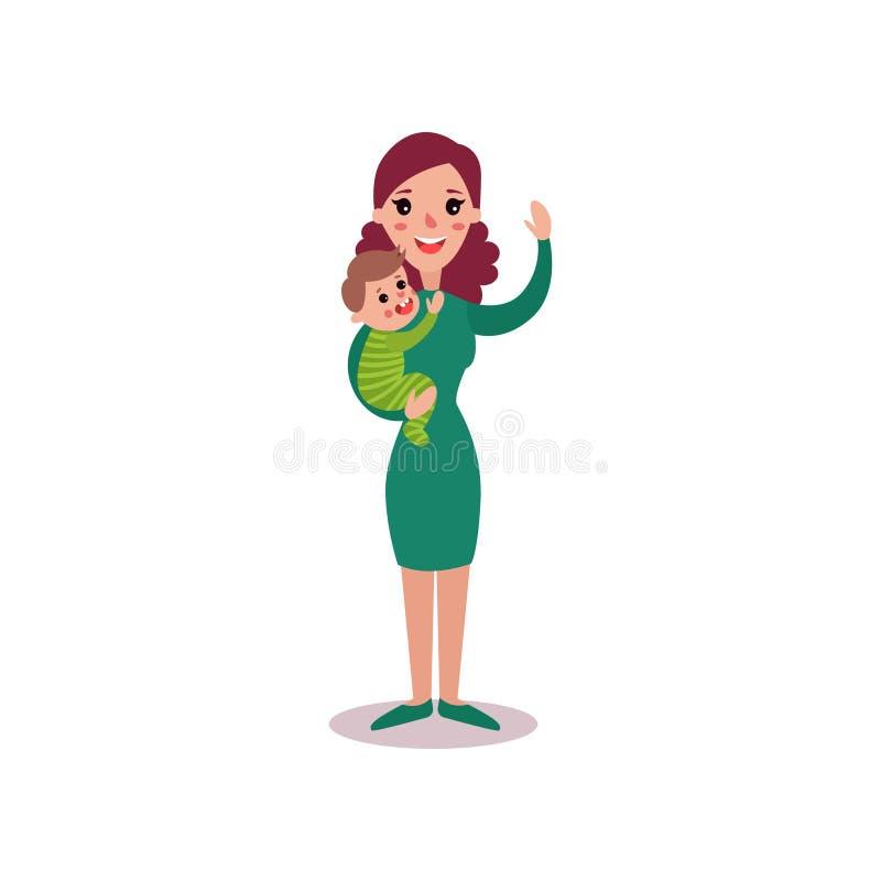 A mãe de sorriso com o bebê em seus braços vector a ilustração ilustração do vetor