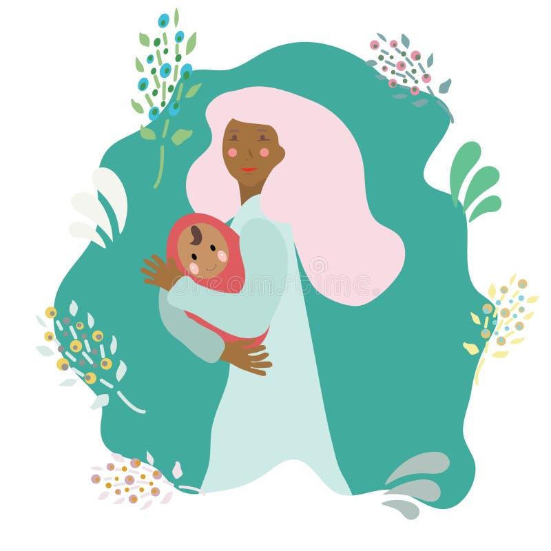 Mãe de sorriso feliz da mulher com bebê recém-nascido ilustração do vetor