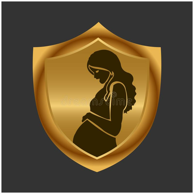 Mãe de WebPregnant e protetor do ouro ?cone conservado em estoque Ilustra??o do vetor ilustração stock