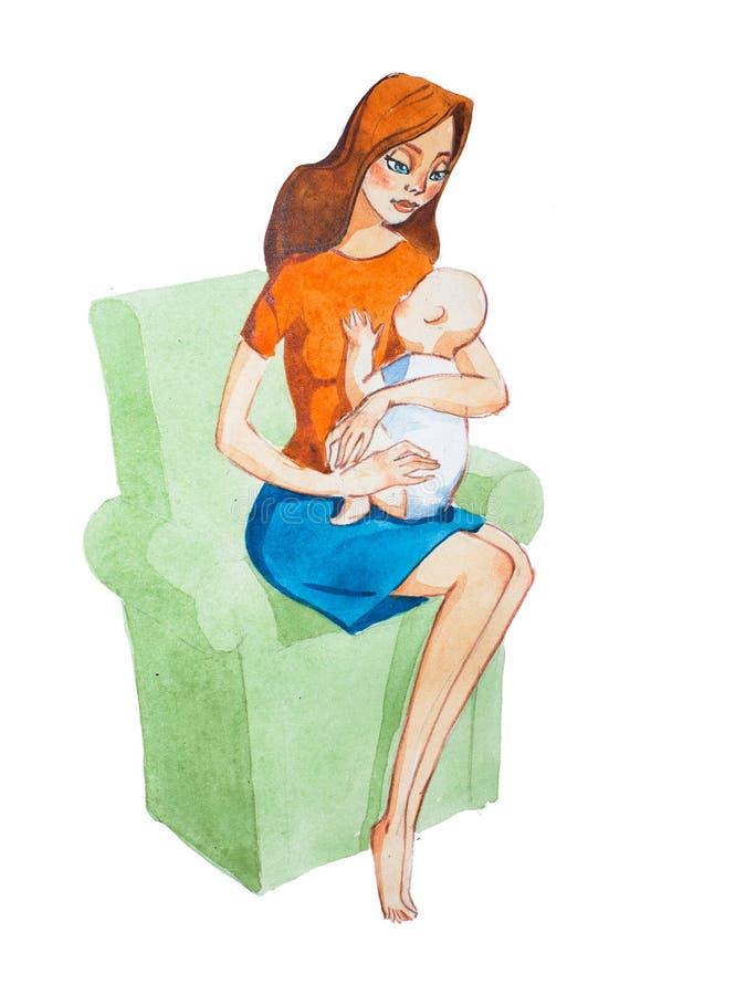 Mãe dos desenhos animados que abraça um bebê Ilustração do Aquarelle do conceito da maternidade ilustração do vetor