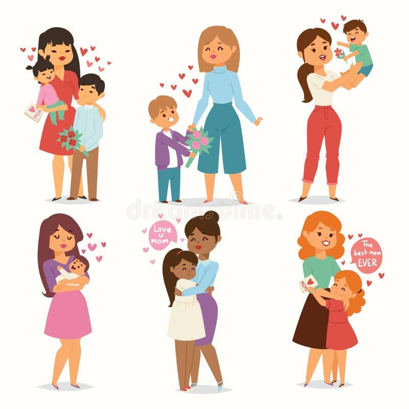 A mãe e as crianças caçoam com pares do coração do amor do ramalhete da flor Mães, Valentim ou mulher dia do 8 de março Mola ou ilustração stock