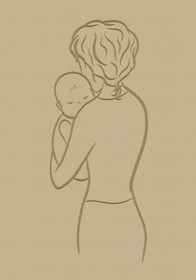 Mãe e bebê loving, textura ilustração do vetor