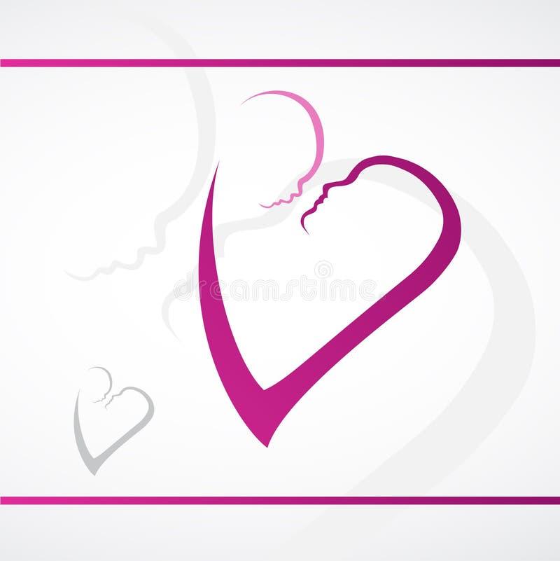 Mãe e bebê no coração, Logo Design ilustração royalty free