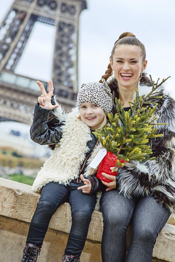 Mãe e criança felizes com a árvore de Natal em Paris, França fotografia de stock