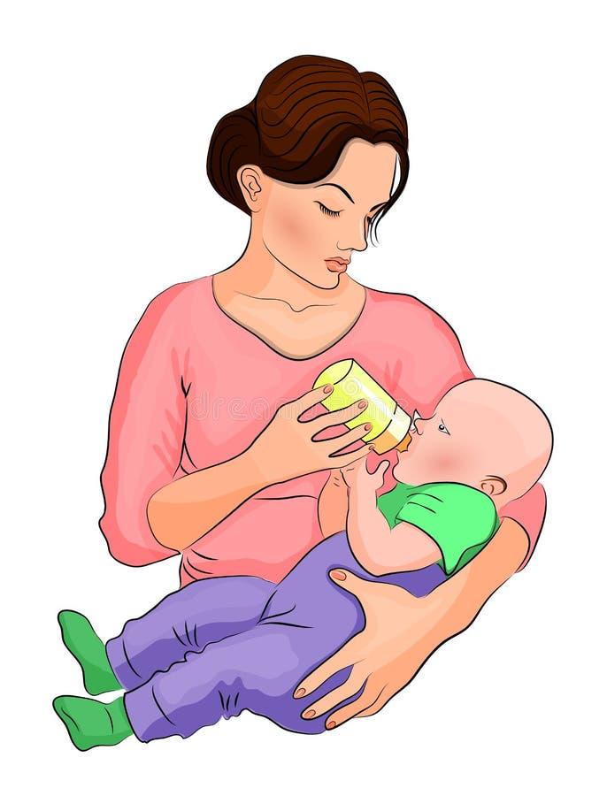 A mãe e a criança o leite na garrafa ilustração do vetor