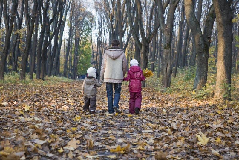 Mãe e crianças que andam no parque imagem de stock