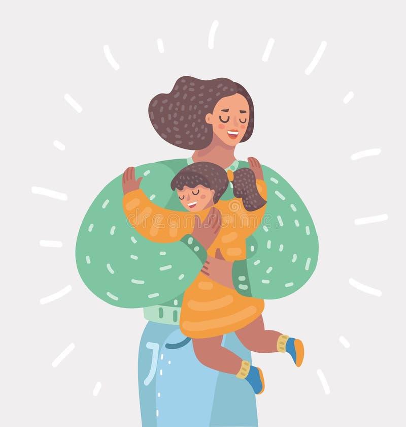 Mãe e filha ilustração royalty free