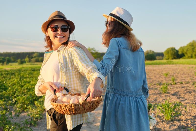 Mãe e filha adolescente com uma cesta de ovos frescos no jardim, hora dourada imagem de stock