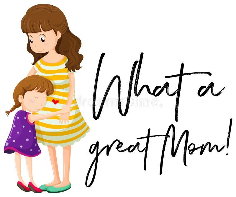 Mãe e filha com frase que grande mamã ilustração royalty free