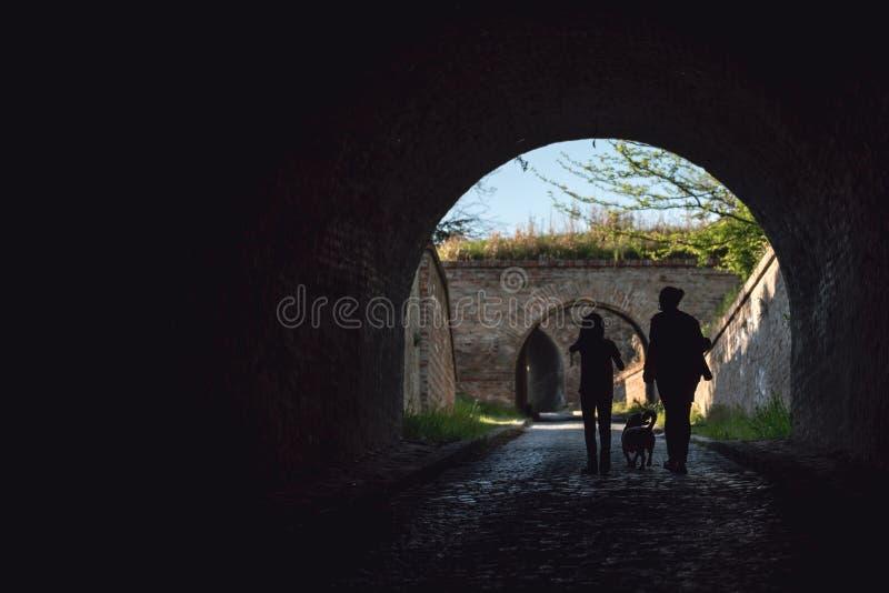Mãe e filha em um túnel com um cão fotografia de stock