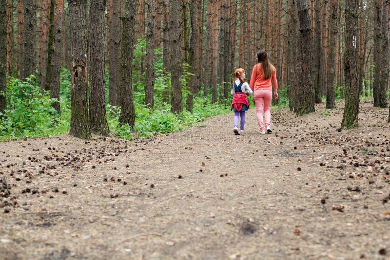 Mãe e filha que andam ao longo da floresta imagem de stock royalty free