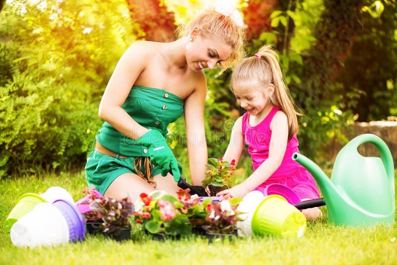 Mãe e filha que plantam flores junto imagem de stock