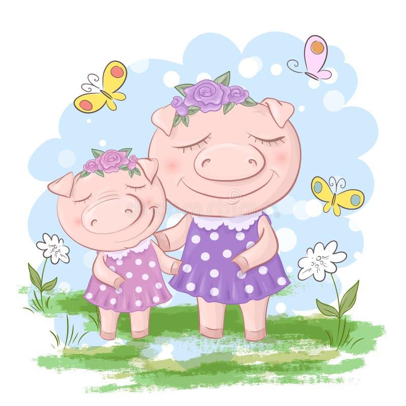 Mãe e filho da família do porco do divertimento Porcos dos desenhos animados e amigos ou fam?lia engra?ada do leit?o ilustração do vetor
