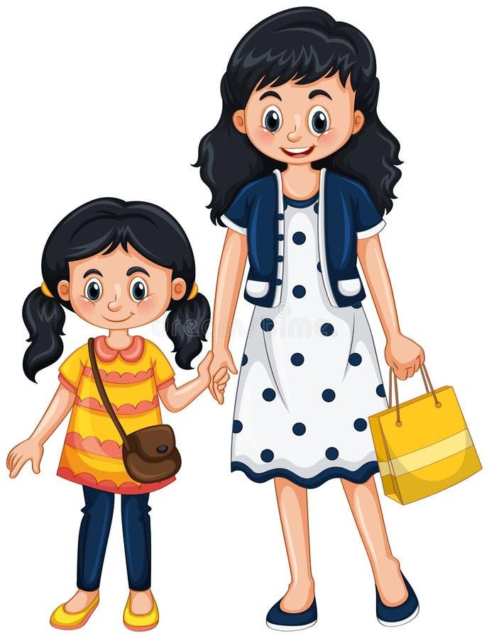 Mãe e menina que guardam as mãos ilustração do vetor