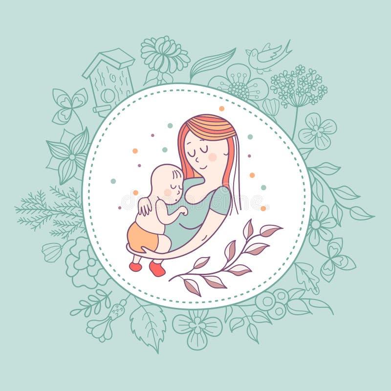 A mãe e o bebê Ilustração do vetor ilustração do vetor