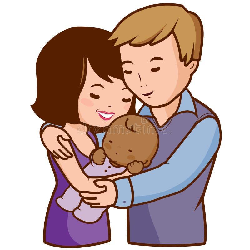 Mãe e pai que guardam seu bebê adotado ilustração stock