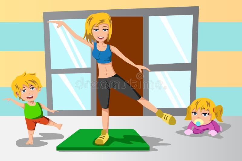 Mãe e seu exercício das crianças ilustração royalty free