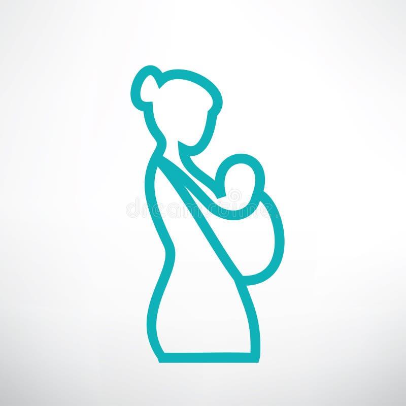 A mãe está guardando seu bebê em um estilingue ilustração do vetor