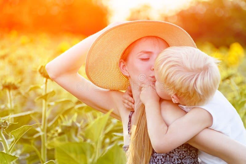 A mãe feliz beija seu filho pequeno que senta-se nela para trás na perspectiva de um campo ensolarado de girassóis de floresc foto de stock royalty free