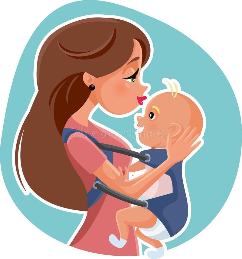 Mãe feliz com ilustração do vetor do bebê ilustração royalty free