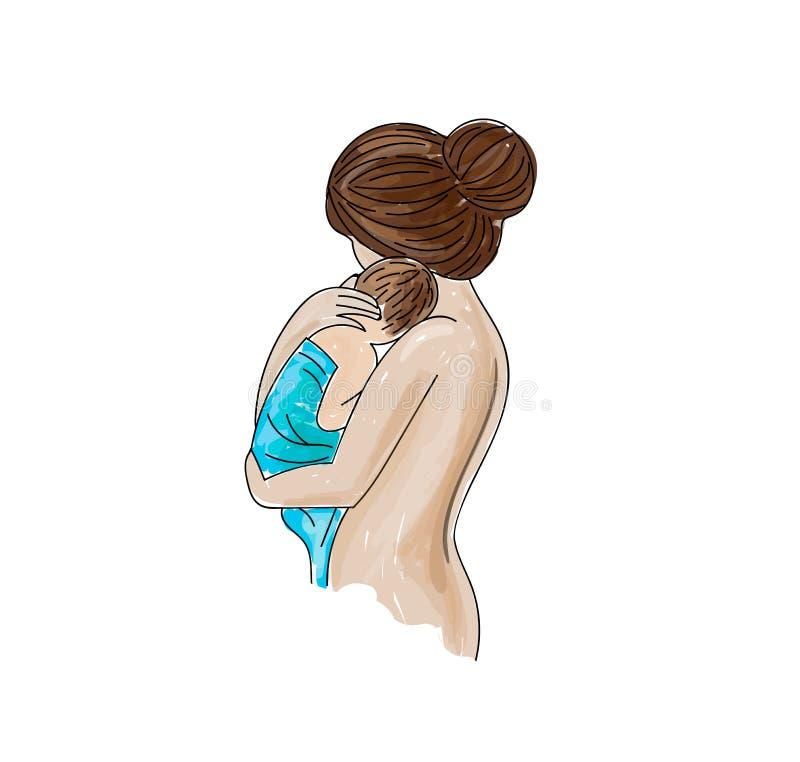 Mãe feliz com ilustração do vetor do bebê ilustração do vetor
