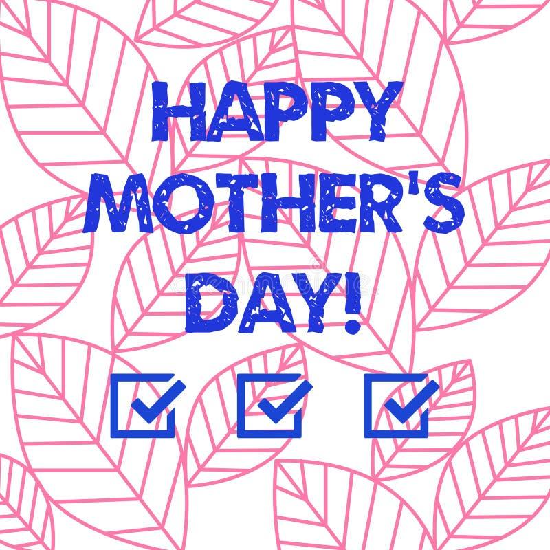 A mãe feliz S do texto da escrita da palavra é dia Conceito do negócio para a celebração que honra mums e que comemora a coleção  ilustração royalty free