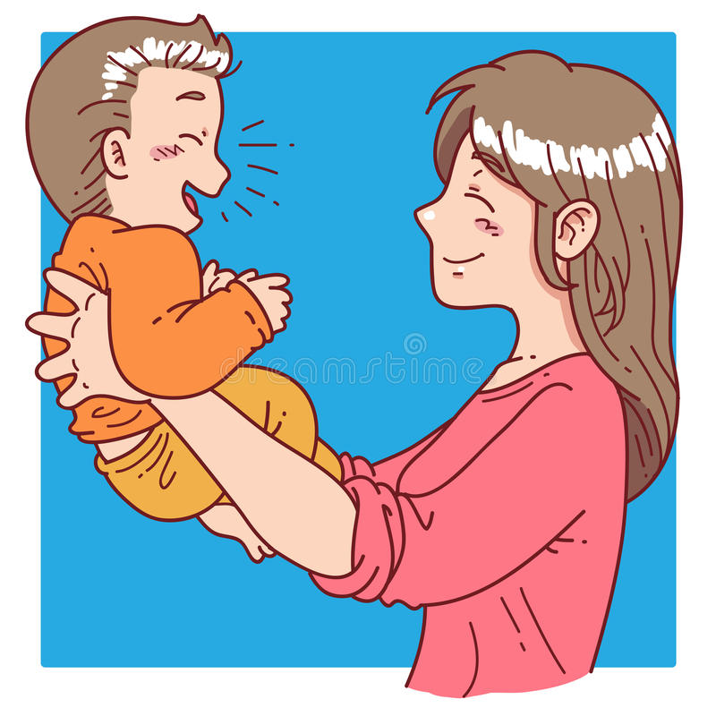 A mãe guarda seu filho ilustração do vetor