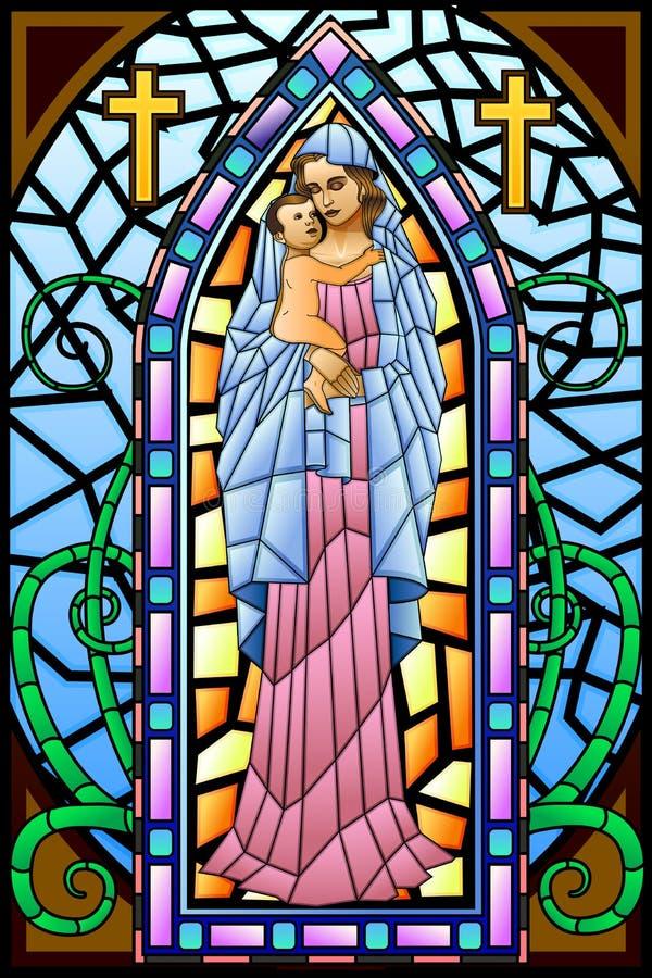 Mãe Mary com Jesus Christ ilustração stock