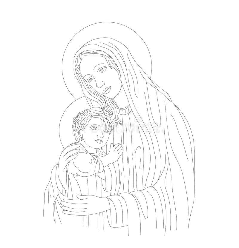 Mãe Mary e arte de Linr do filho ilustração stock