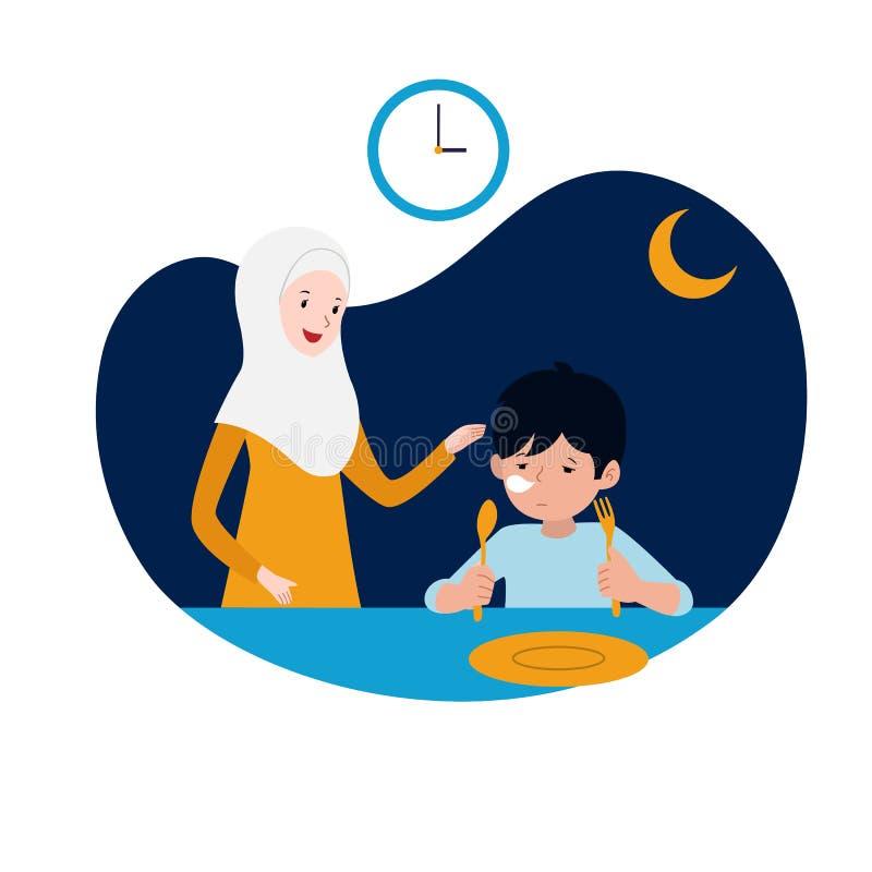 A m?e mu?ulmana apoia sua crian?a sonolento para a refei??o do sahur ou do pre-alvorecer antes da ilustra??o de jejum do come?o a ilustração do vetor