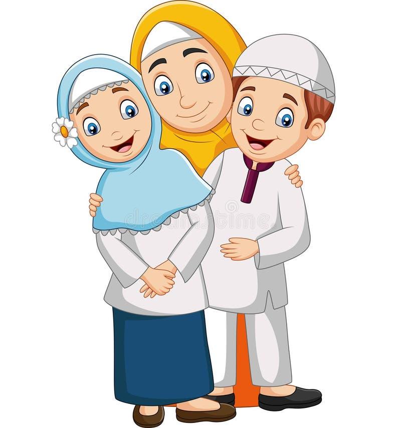 Mãe muçulmana com filho e filha ilustração royalty free