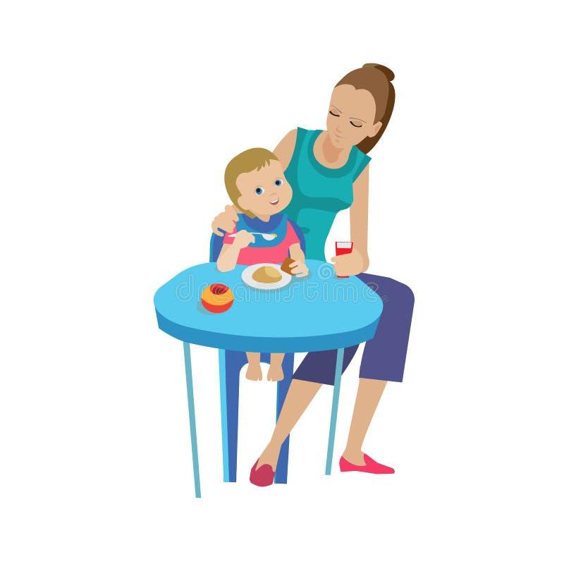 A mãe, mulher alimenta a bebê comer delicioso Alimento limpo saudável, orgânico ilustração stock