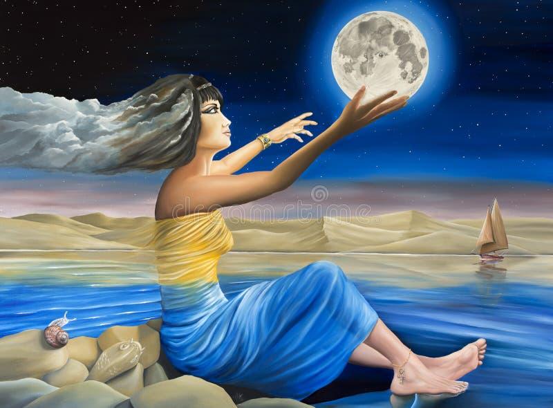 Mãe Natureza que endereça a lua ilustração stock