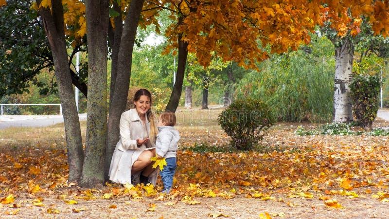 Mãe nova alegre com seu menino da criança que joga no parque do outono fotos de stock