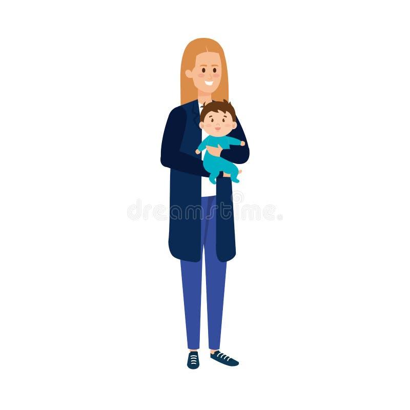 Mãe nova com caráteres do filho do bebê ilustração stock