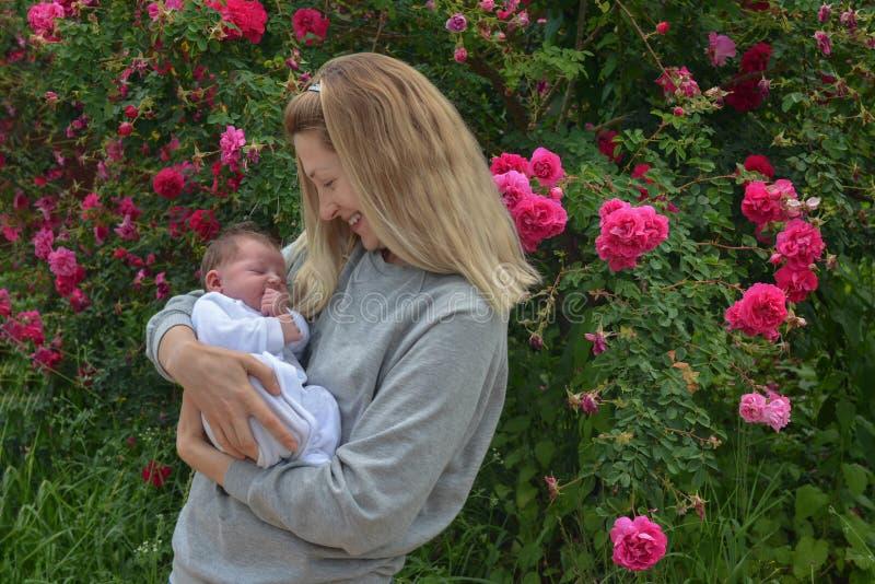 Mãe nova com uma criança recém-nascida no parque perto do arbusto com rosas imagens de stock