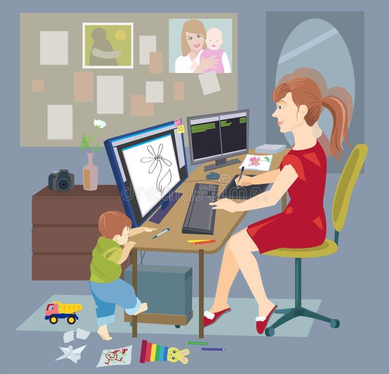 Mãe nova, mulher que trabalha da casa, freelancer ilustração stock