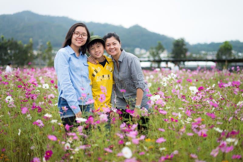 Mãe nova na moda e suas crianças de dois adolescentes que levantam felizmente pelo campo das flores imagens de stock royalty free