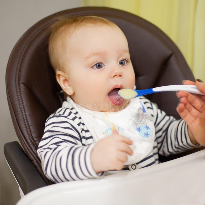 Mãe nova que alimenta seu filho pequeno do bebê com papa de aveia, que se sentando na cadeira alta do bebê para alimentar fotos de stock royalty free