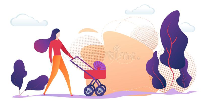 Mãe nova que empurra o carrinho de criança de bebê no campo ilustração royalty free