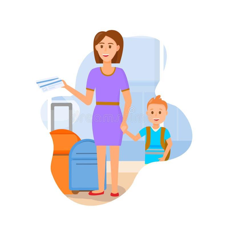 Mãe nova que viaja com caráteres pequenos do filho ilustração do vetor