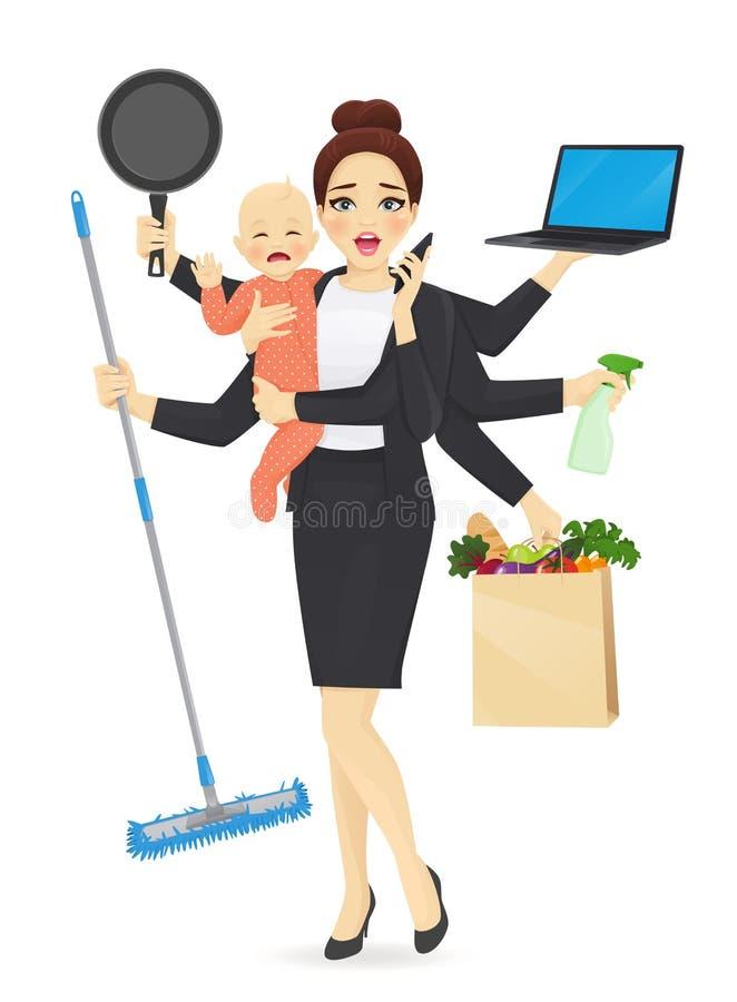 Mãe ocupada com bebê ilustração do vetor