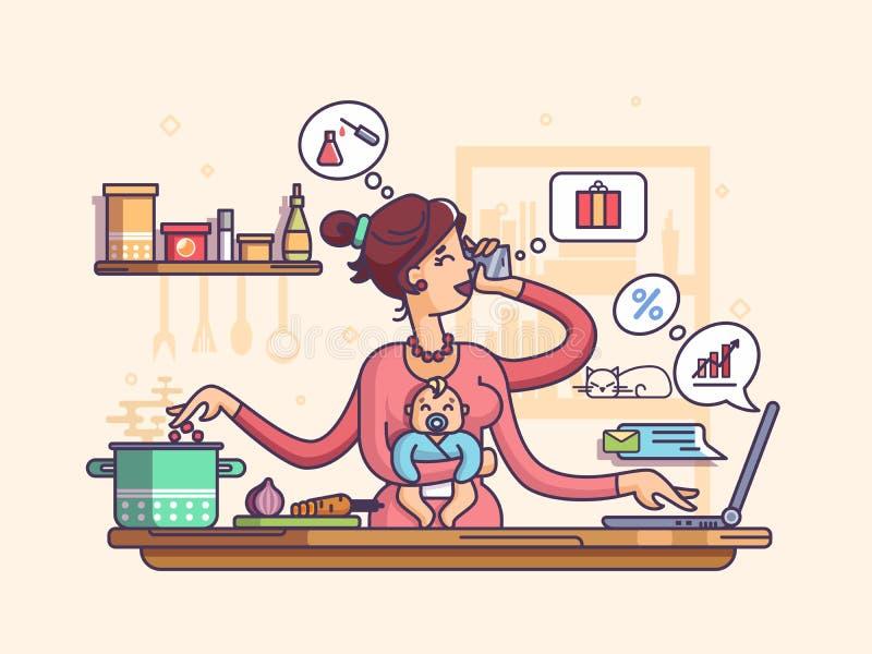 Mãe ocupada com bebê ilustração royalty free