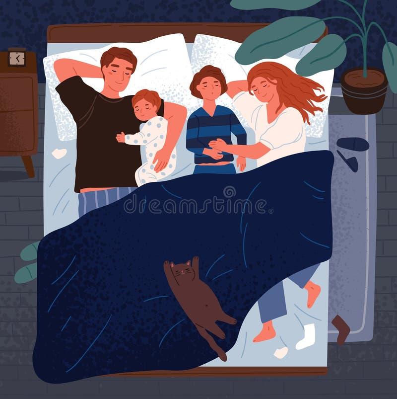 Mãe, pai e crianças dormindo junto em uma cama Mamã, paizinho e crianças abraçando-se e descansando na noite ilustração do vetor