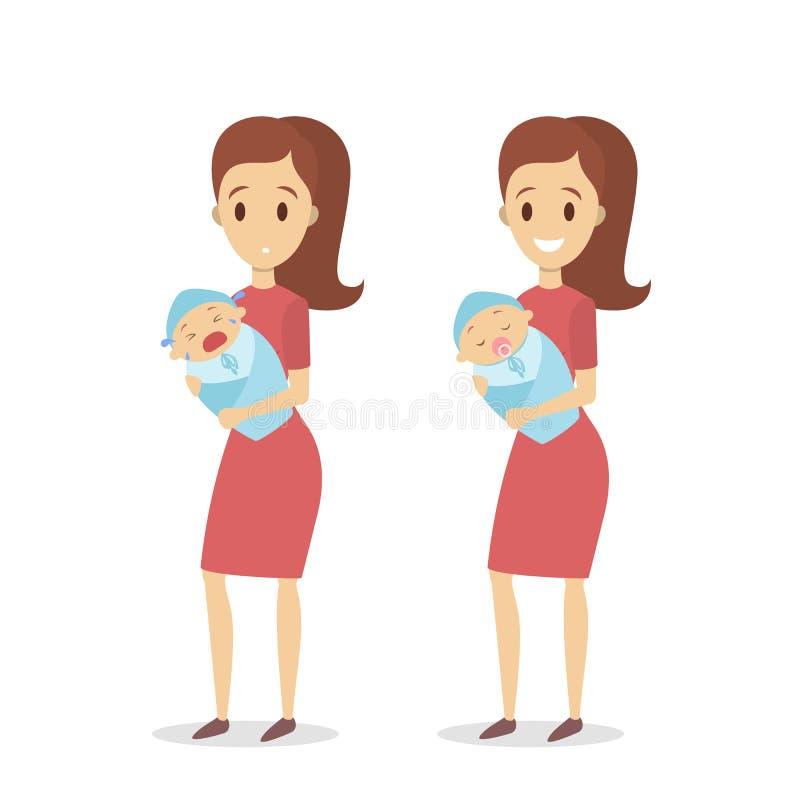 Mãe que acalma o bebê triste ilustração stock